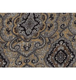 Wyoming Traders Paisley Tan-Black 100% Silk Scarf