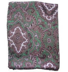 Wyoming Traders Paisley Green-Chocolate 100% Silk Scarf