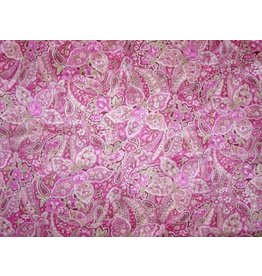 Wyoming Traders Calico Pink Floral Paisley 100% Silk Scarf