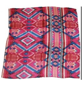 Wyoming Traders Aztec Pink Blue 100% Silk Scarf