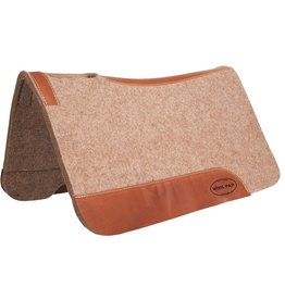 "Mustang 3/4"" Tan Wool Contoured Pad with Top Grain Wear Leathers"