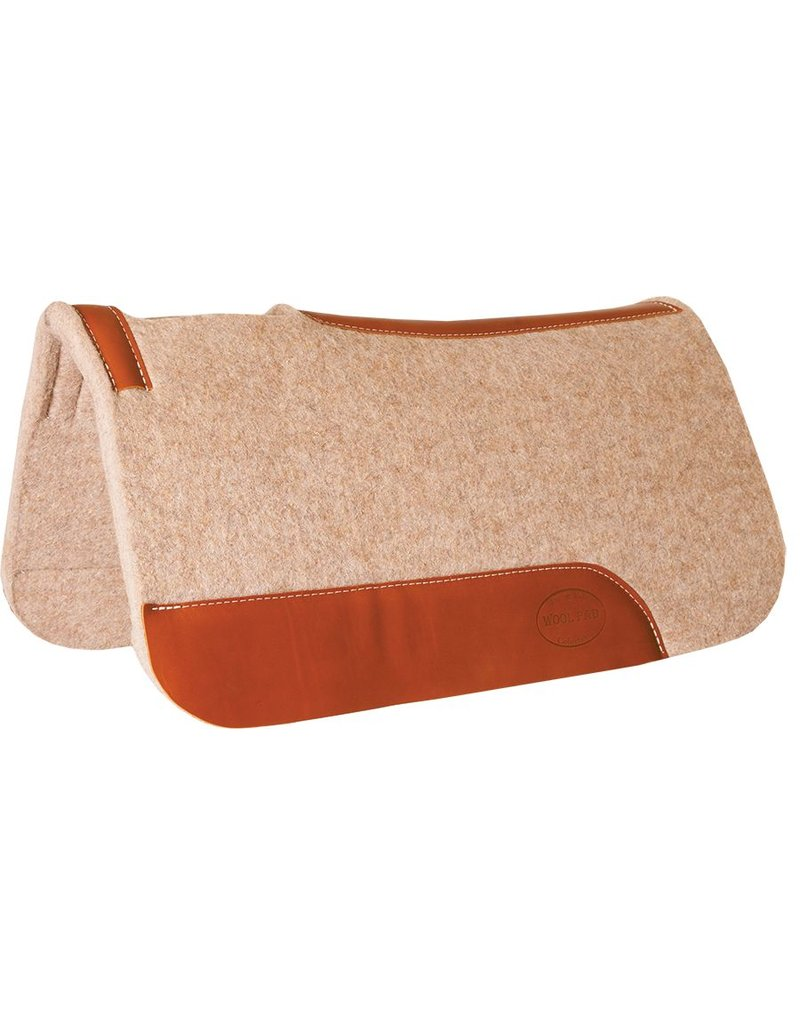 """Mustang 1"""" Contoured Tan Wool Junior Pad with Top Grain Wear Leathers"""