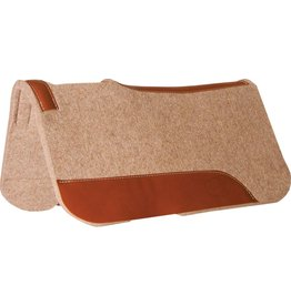 "Mustang 3/4"" Contoured Tan Wool Junior Pad with Top Grain Wear Leathers"