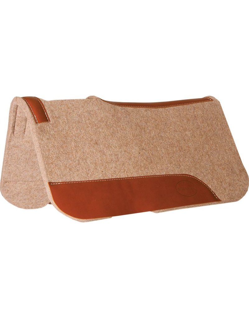 """Mustang 3/4"""" Contoured Tan Wool Junior Pad with Top Grain Wear Leathers"""