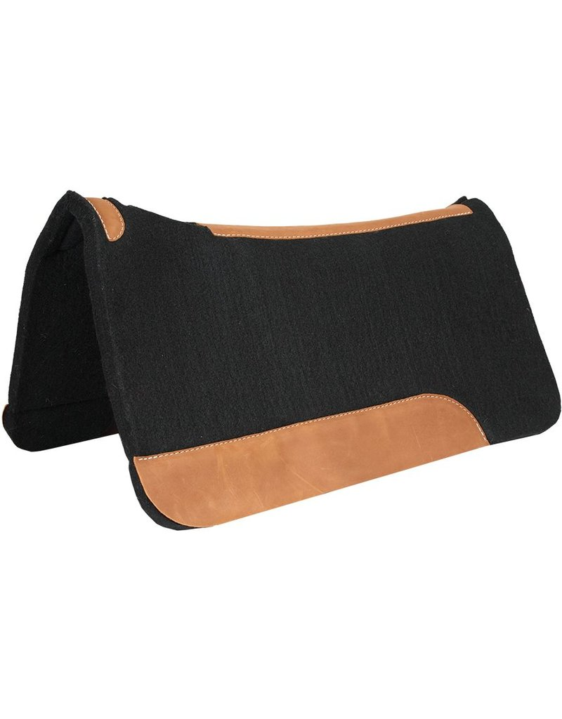 Mustang Contoured Black Felt Pad with Top Grain Wear Leathers