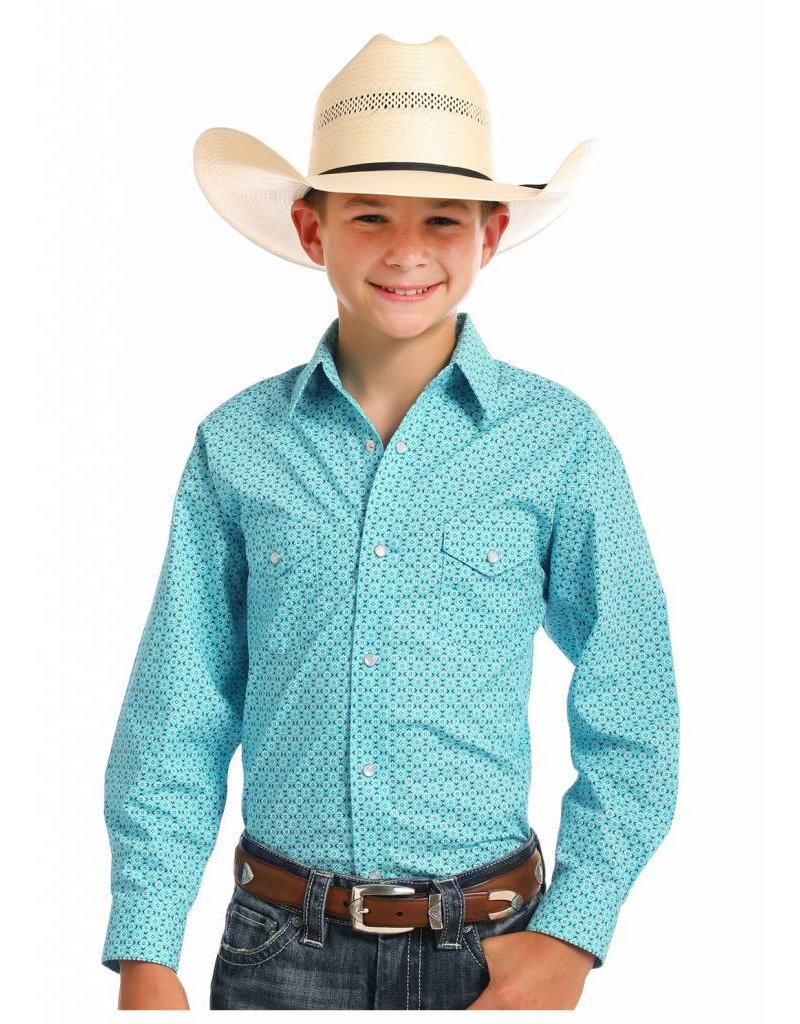 Panhandle Slim Rough Stock Boys' Turquoise Pitkin Vintage Print Shirt