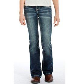 Rock & Roll Cowgirl Rock & Roll Cowgirl Girls' Multi Color Thread Dark Vintage Boot Cut Jean