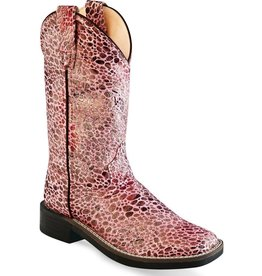 Old West Old West Girls' Antique Pink Glitter Square Toe Boots