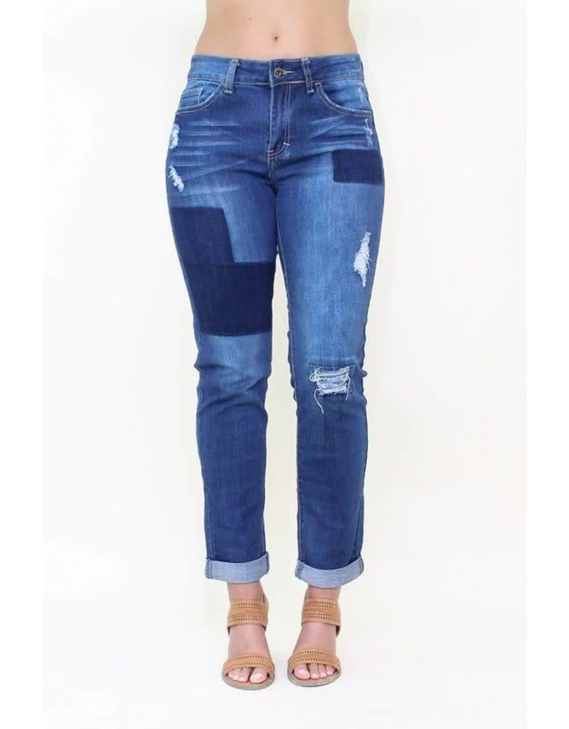 L&B Distressed Denim Relaxed Fit Boyfriend Jeans