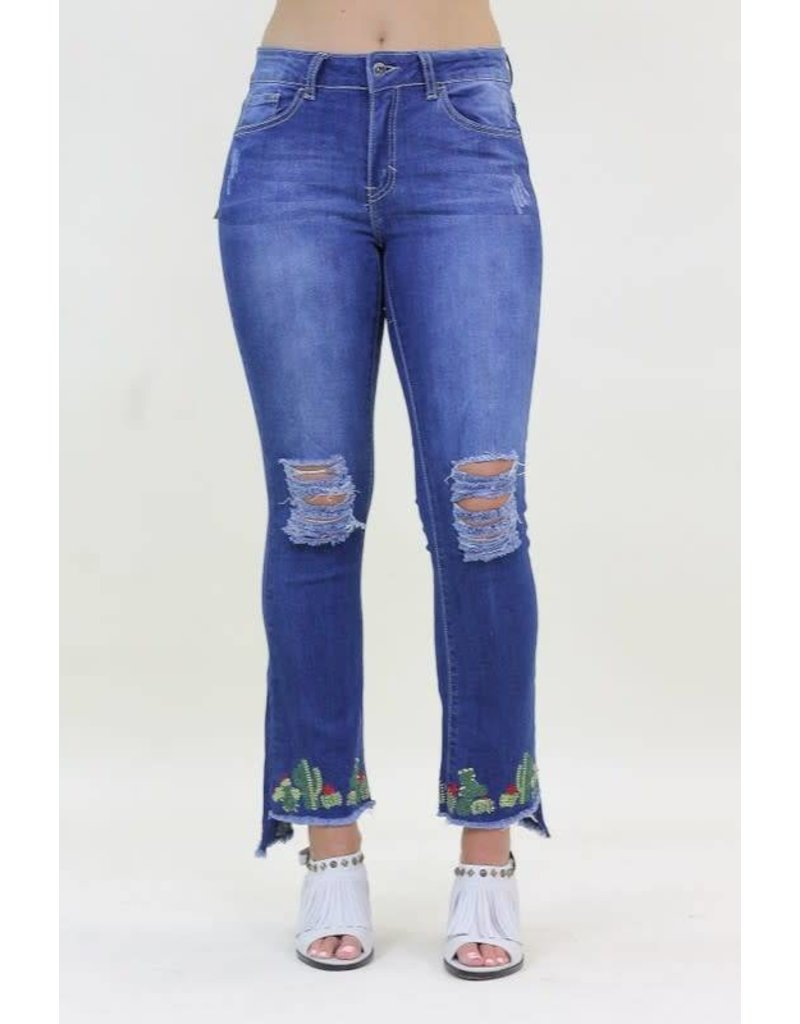 L&B Distressed Boocut Jeans with Cactus Embroidery Hem