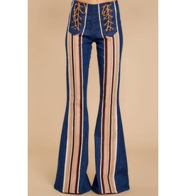 Judith March Dark Denim Neutral Stripes Flare Pants