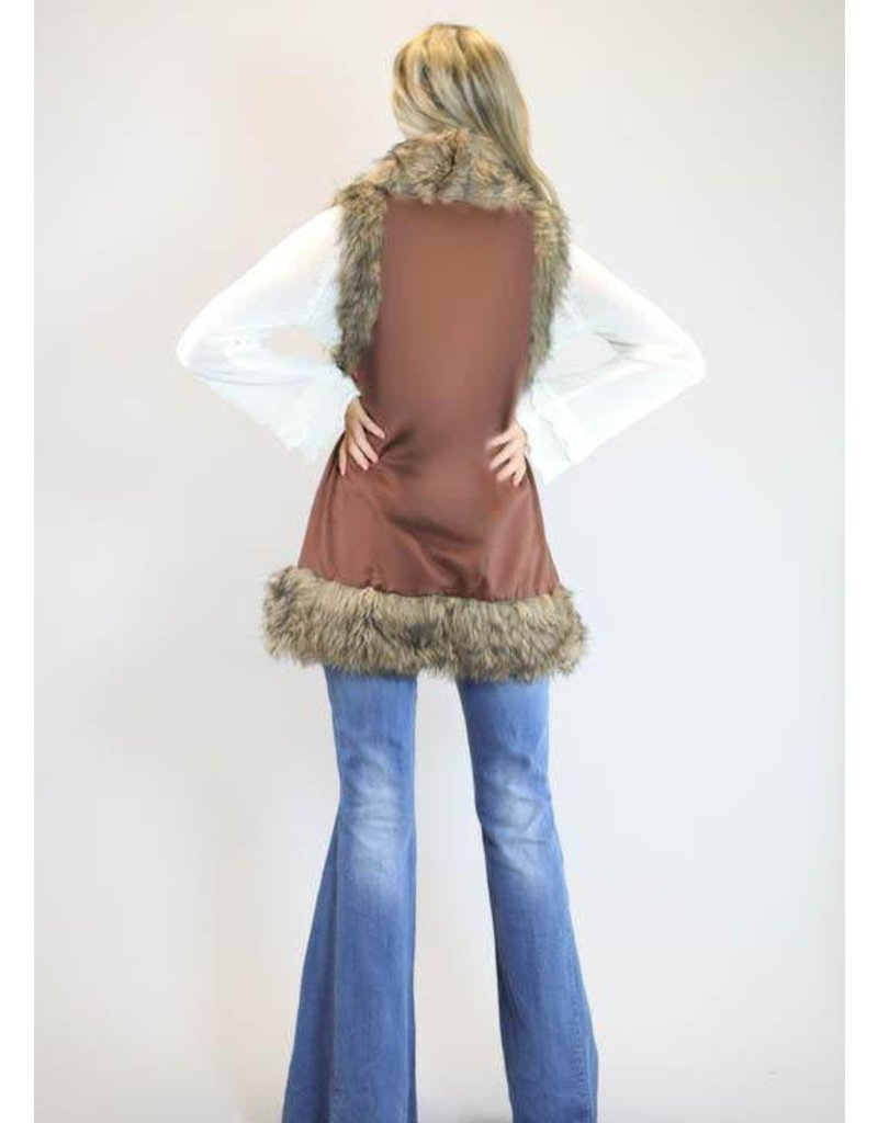 Judith March Chocolate Faux Suede Vest with Fur Trim