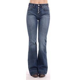 Rock & Roll Cowgirl High Rise Trouser Basic Pocket Button Fly Jeans