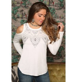 Cruel Girl Cream Embellished Cold Shoulder Blouse