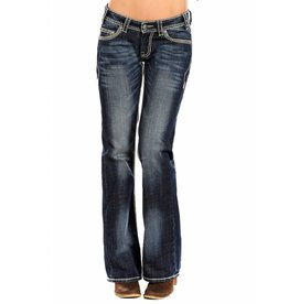 Rock & Roll Cowgirl Dark Vintage Heavy Embroidered Boot Cut Riding Jeans