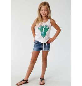 Roper Roper Girls' White Tank with Front Tie Hem