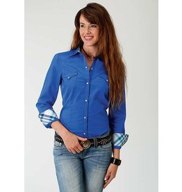 Roper West Made Collection Ladies Long Sleeve Blue Western Style Shirt