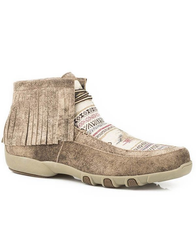 Roper Tan Leather Multicolor Southwest Stripes Driving Mocs
