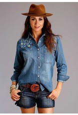 Stetson Embroidered Denim Button Front Blouse