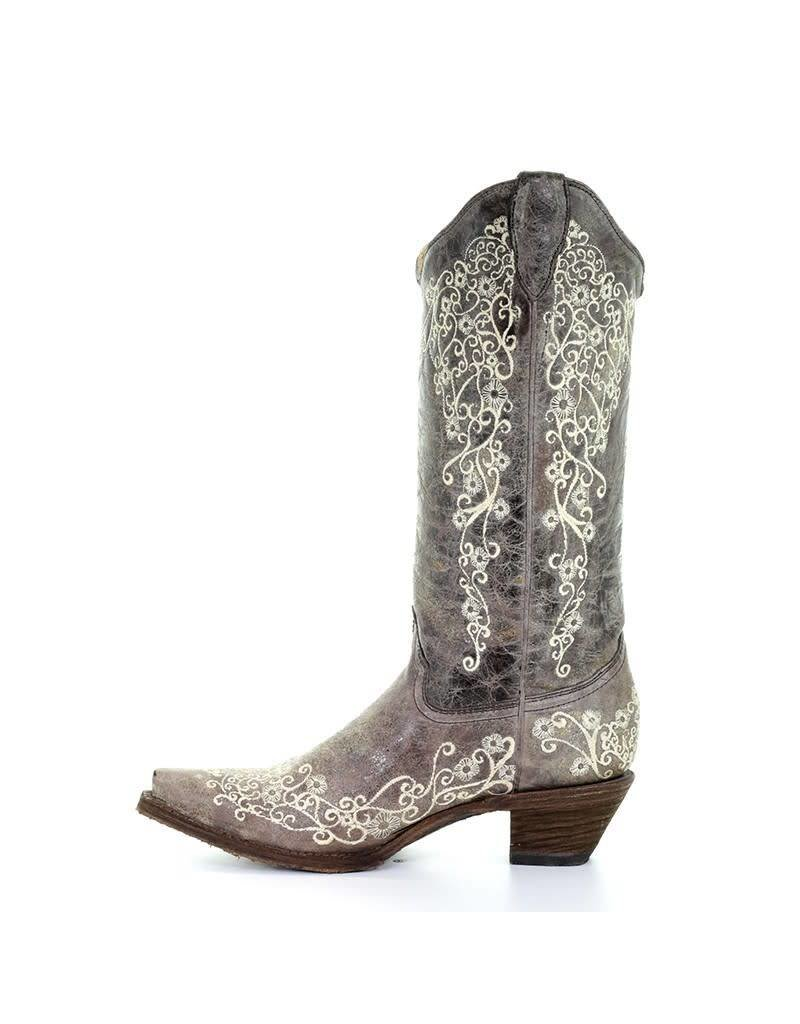 Corral Corral Brown Crater Bone Embroidery Snip Toe Boots