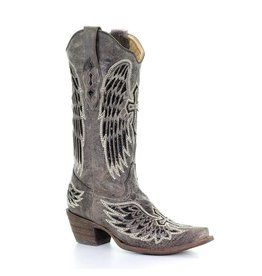 Corral Corral Bone Cross Winged Embroidery Snip Toe Boots