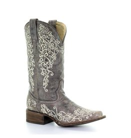 Corral Corral Brown Crater Bone Embroidery Square Toe Boots