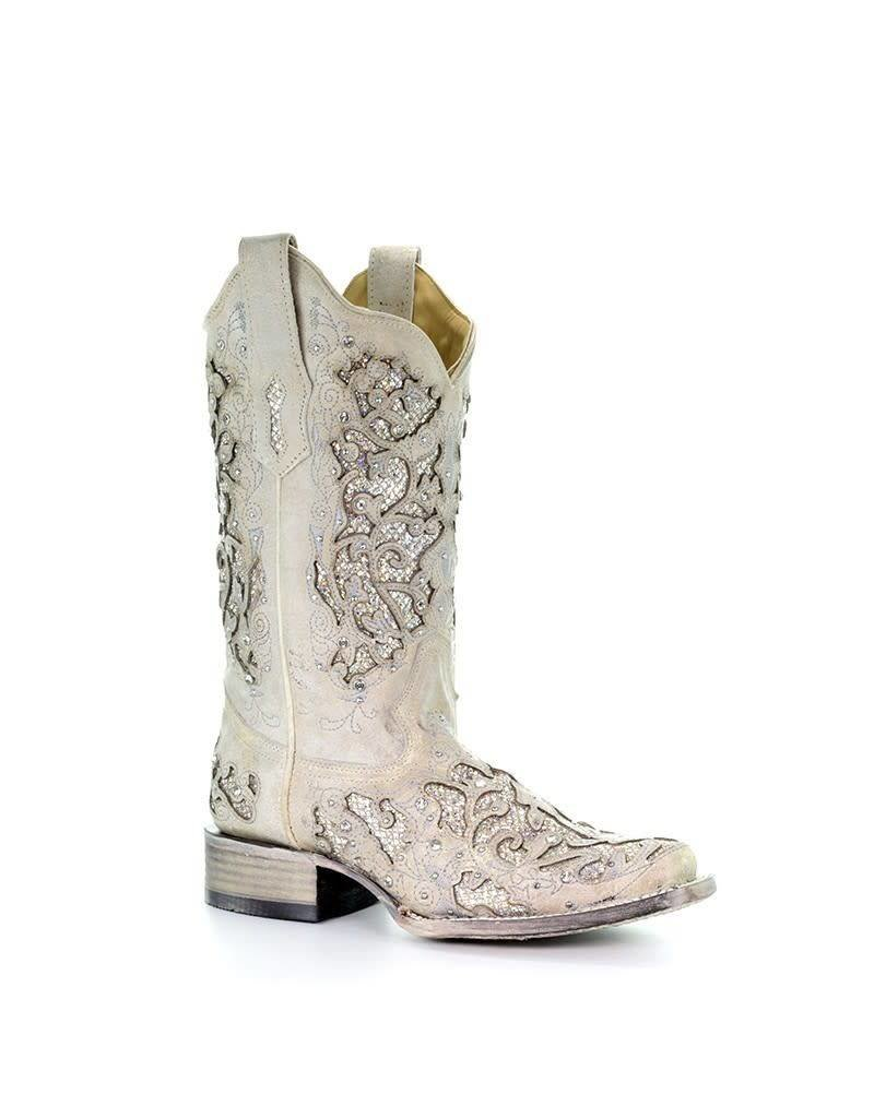 Corral Corral Embellished Silver Glitter & Crystals Square Toe Boots