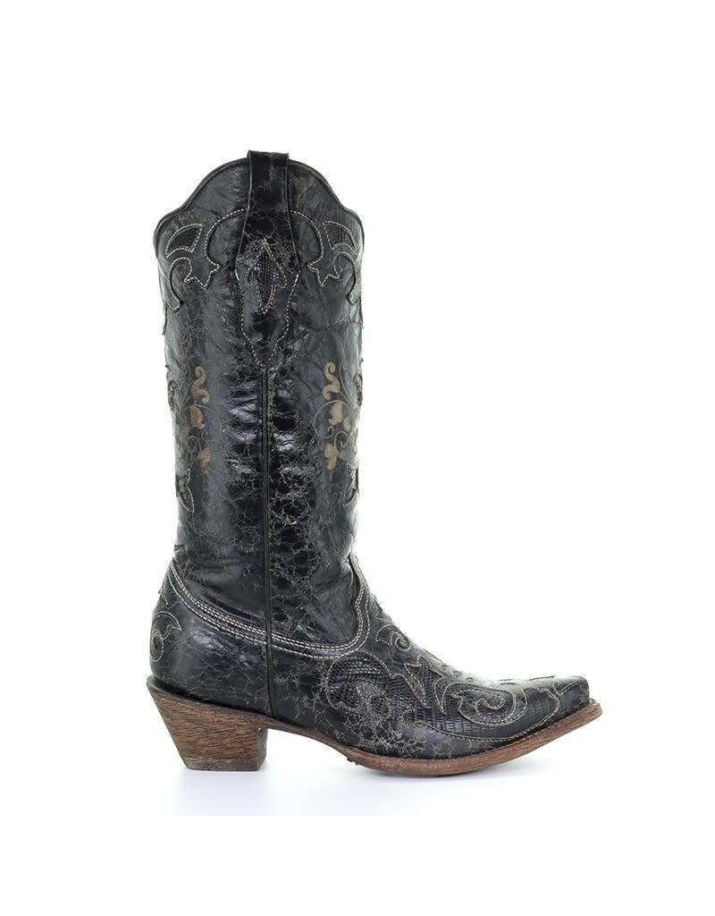 Corral Corral Black Vintage Lizard Leather Rand Overlay Snip Toe Boots