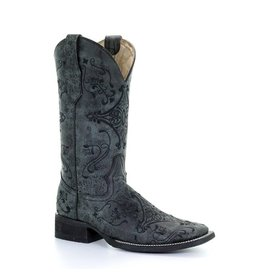 Circle G Circle G Grey Embroidered Square Toe Boots