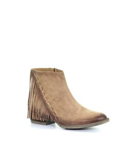 Circle G Circle G Urban Distressed Honey Ankle Fringe Booties