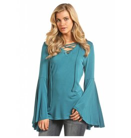 Rock & Roll Cowgirl Lace Up V-Neck Exaggerated Bell Sleeve Top