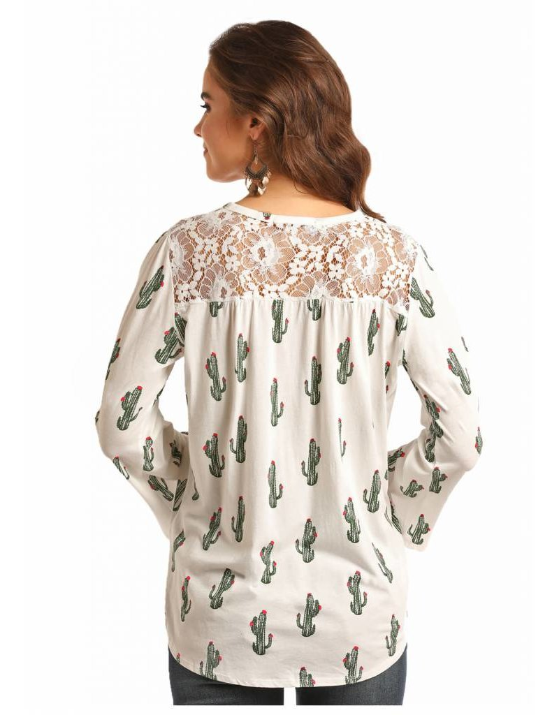 Rock & Roll Cowgirl Cactus Lace Up Blouse