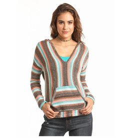 Rock & Roll Cowgirl Chocolate Striped Light Weight Knitted Pullover