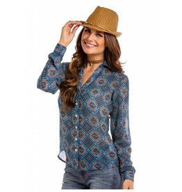 Panhandle Slim Thunderbird Print Long Sleeve Button Down with Open Neckline