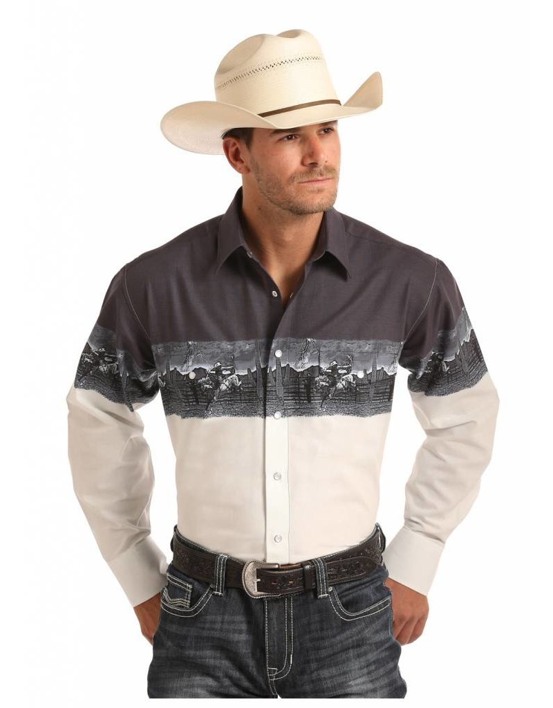 Panhandle Slim Scenic Border Long Sleeve Snap Shirt