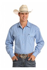 Panhandle Slim Men's Blue Select Print Long Sleeve Snap Shirt