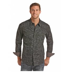Rock & Roll Cowboy Men's Black Spray Washed Paisley Print Shirt