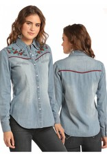 Rock & Roll Cowgirl Red Piping Long Sleeve Denim Wash Shirt