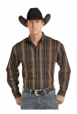 Panhandle Slim Herringbone Plaid Two Pocket Long Sleeve Button Down Shirt