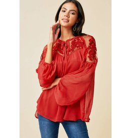 Hayden Rose Red Sheer Tie-Front Peasant Top