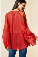 Hayden Rose Red Sheer Tie-Front Peasant Top