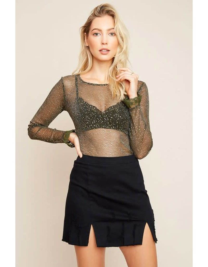 Hayden Long Sleeve Mesh Top With Star Detail