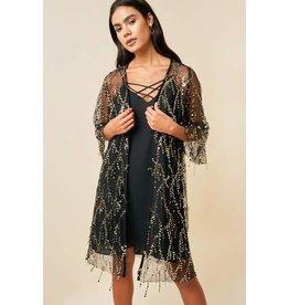 Hayden Sheer Bell Sleeve Sequin Open Kimono