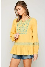 Hayden Honey Embroidered Tunic with Skirt Hem Detail