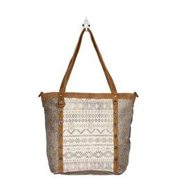 Myra Abstract Emblem Tote Bag