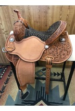 "Martin Saddlery 13.5"" Prairie Flower Suede Chocolate Fearless by Lisa Lockhart Barrel Saddle"