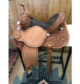"Martin Saddlery 13.5"" Prairie Flower Suede Chocolate Fearless by Lisa Lockhart Barrel Saddle"