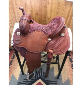 "Martin Saddlery 14"" Tooled Twisted Wire Maroon Suede Fearless by Lisa Lockhart Barrel Saddle"