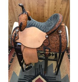 "Martin Saddlery 14"" Natural Roughout Wyoming Flower Grey Suede Stingray Barrel Saddle"