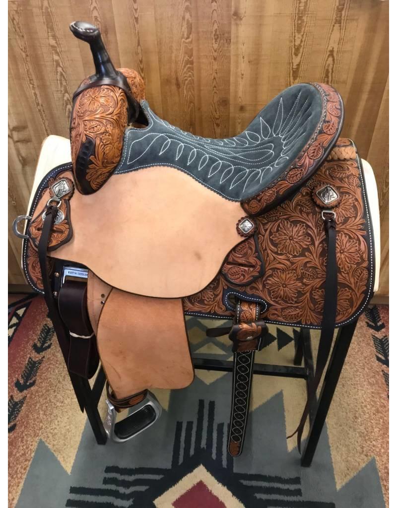 """Martin Saddlery 14"""" Natural Roughout Wyoming Flower Grey Suede Stingray Barrel Saddle"""